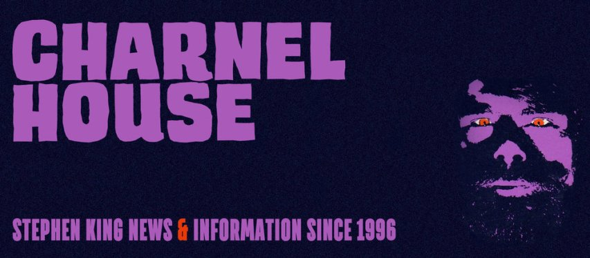 black background with purple photo of Stephen King and text in purple that says Charnel House