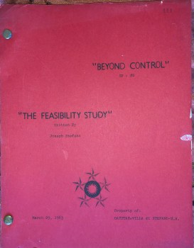 """script cover for The Outer Limits episode """"A Feasibility Study"""""""