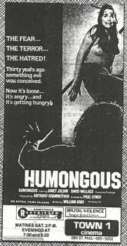 newspaper ad for the 1982 Canadian slasher film Humongous