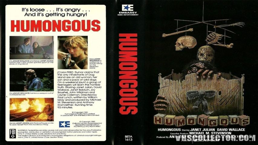 video cover of the 1982 Canadian slasher film Humongous