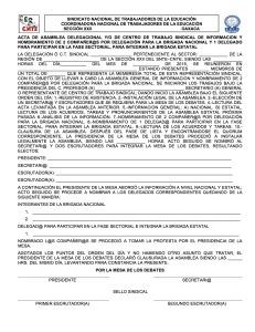 Acta de Asamblea Delegacional para el nombramiento de brigadistas julio 2015