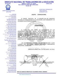 Convocatoria para la Asamblea Plenaria Permanente el 14 de agosto de 2015