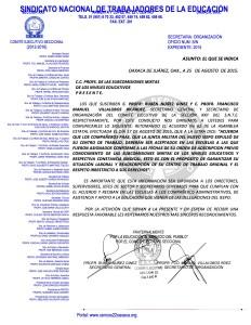 Oficio dirigido a las Subcomisiones Mixtas de los Niveles Educativos 26 agosto 2015