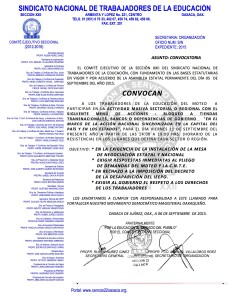 Convocatoria para la Actividad Sectorial o Regional el 11 de septiembre de 2015