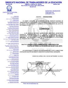 Convocatoria para la Ronda de Asambleas Sectoriales Ampliadas del 29 de septiembre al 01 de octubre de 2015