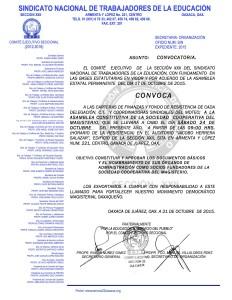 Convocatoria para la Asamblea Constitutiva de la Sociedad Cooperativa del Magisterio el 24 de octubre de 2015