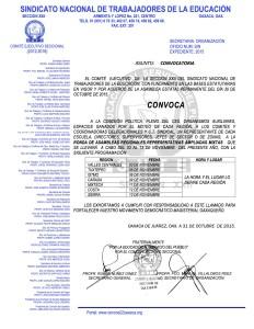 Convocatoria para la ronda de Asambleas Regionales Representativas Ampliadas Mixtas del 03 al 13 de noviembre de 2015