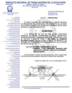 Convocatoria para la ronda de asambleas sectoriales mixtas el 02 de diciembre de 2015