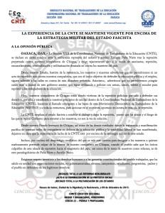 Boletín - La experiencia de la CNTE se mantiene vigente- 09 diciembre 2015
