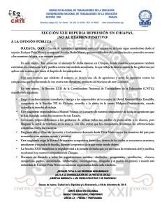 Boletín - Sección XXII repudia represión en Chiapas - 08 diciembre 2015