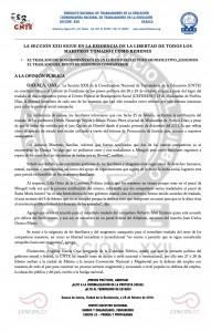Boletín - La seccion XXII sigue en la exigencia de la libertad de los compañeros tomados como rehenes  - 26 de febrero de 2016
