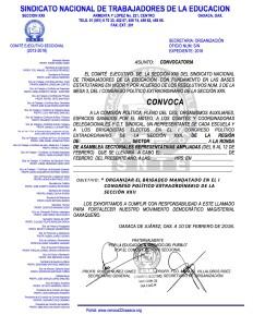 Convocatoria para la ronda de Asambleas Sectoriales Representativas Ampliadas Mixtas del 8 al 12 de febrero de 2016