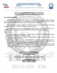 Boletín - Alto a la represión -  15 de abril de 2016