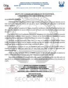 Boletín - Basta de llenar las cárceles de maestros 16 abril 2016
