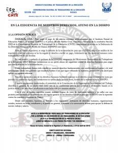 Boletín -  En la exigencia de nuestros derechos ayuno en la DDHPO - 25 abril 2016