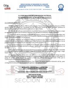 Boletín - La espuria Ley de los vendepatrias no representa -  10 de abril de 2016