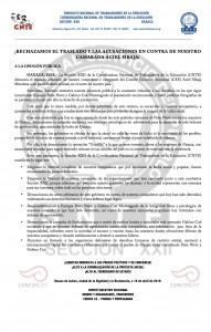 Boletín - Rechazamos el traslado y la acusaciones en contra de nuestro camarada Aciel Sibaja -  16 de abril de 2016