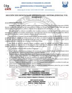 Boletín -  Sección XXII denuncia el amasiato del sistema judicial y del gobierno - 22 abril 2016