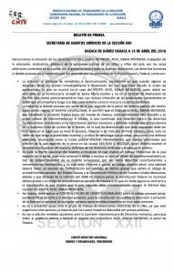 Boletín de prensa sobre violaciones a Aciel Sibaja -  16 de abril de 2016