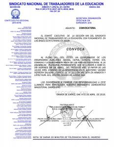 Convocatoria para la Asamblea Plenaria Permanente el día viernes 08 de abril de 2016