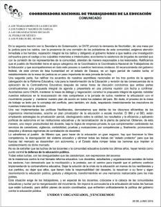 Comunicado de la CNTE tras mesa con SEGOB 28 junio 2016