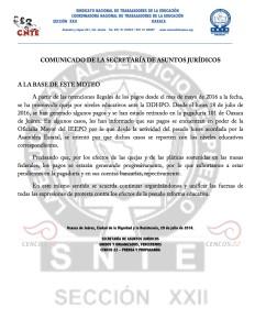 Boletín - COMUNICADO DE LA SRIA DE ASUNTOS JURIDICOS- 20 julio 2016