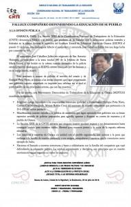 Boletín - Fallece compañero defendiendo la educación de su pueblo - 05 julio 2016