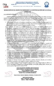 Boletín - REMOCION EN EL IEEPO NO IMPEDIRA LA CONTINUIDAD DE LA LUCHA POPULAR- 18 julio 2016