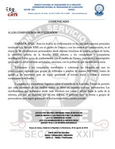 Boletín - COMUNICADO  - 26 agosto 2016