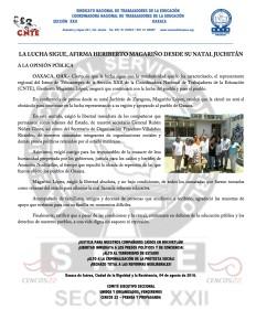 Boletín - LA LUCHA SIGUE AFIRMA HERIBERTO MAGARIÑO DESDE SU NATAL JUCHITAN - 04 agosto 2016
