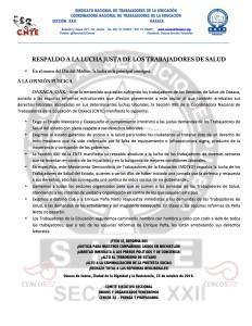 Boletín -RESPALDO A LA LUCHA JUSTA DE LOS TRABAJADORES DE SALUD- 23 octubre 2016