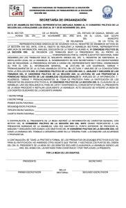 Acta de Asamblea Sectorial rumbo al IV Congreso Político de la Sección XXII