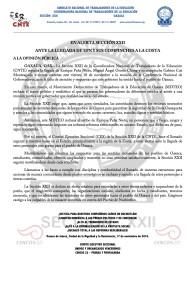 Boletín - EN ALERTA SECCION XXII ANTE LA LLEGADA  DE EPN Y SUS COMPINCHES A LA COSTA - 17 noviembre 2016