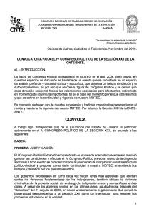 Convocatoria para el IV Congreso Político de la Sección XXII de la CNTE SNTE