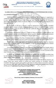 Boletín - LLAMA CES A LA UNIDAD ORGANIZACION Y CONTINUIDAD DE LUCHA - 24 enero 2017