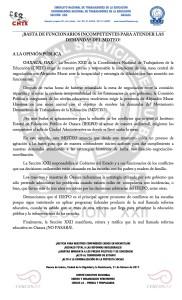 Boletín - BASTA DE FUNCIONARIOS INCOMPETENTES PARA  ATENDER LAS DEMANDAS DEL MDTEO - 21 febrero 2017