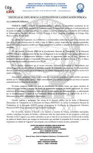 Boletín - ESCUELAS AL CIEN BUSCA LA EXTINCIÓN DE LA EDUCACIÓN PÚBLICA - 22 febrero 2017