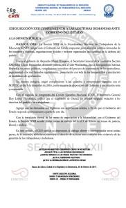 Boletín - EXIGE SECCIÓN XXII CUMPLIMIENTO A LAS LEGÍTIMAS DEMANDAS ANTE GOBIERNO DEL ESTADO- 3 febrero 2017