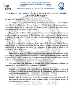 Boletín - GASOLINAZO SU LIBERACIÓN Y APLAZAMIENTO HASTA EL LUNES UN FRAUDE AL PUEBLO  - 18 febrero 2017(1:2)