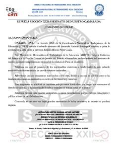 Boletín - SECCION XXII REPUDIA ASESINATO DE CAMARADA  - 17 febrero 2017