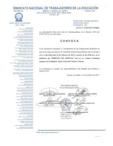 Convocatoria para la Asamblea Estatal Extraordinaria de Telesecundarias 22 febrero 2017
