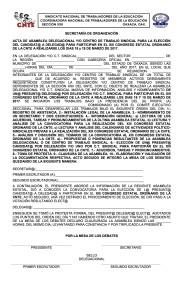 Acta de Asamblea Delegacional para la elección del candidato a delegado al XIII Congreso Estatal Ordinario de la CNTE 18 y 19 de marzo de 2017