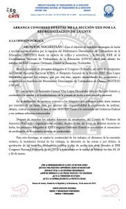 Boletín - ARRANCA CONGRESO ESTATAL DE LA SECCIÓN XXII POR LA REORGANIZACIÓN DE LA CNTE - 18 marzo 2017