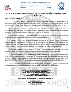 Boletín - ATENCIÓN MÉDICA URGENTE PARA LIBRADO BAÑOS, EXIGIMOS SU LIBERTAD - 27 marzo 2017