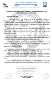 Boletín - CASTIGO PARA LOS RESPONSABLES DE LA REPRESIÓN EN ARANTEPACUA-  5 abril 2017