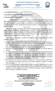 Boletín - COMUNICADO ORGANIZACIONES SOCIALES -  10 abril 2017
