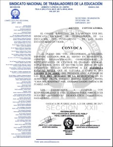 Convocatoria para la Asamblea Estatal Mixta el día sábado 29 de abril de 2017