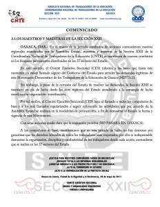 Boletín - A LOS MAESTROS Y MAESTRAS DE LA SECCIÓN XXII - 26 mayo 2017