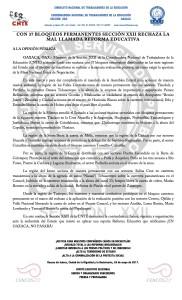 Boletín - CON 37 BLOQUEOS PERMANENTES SECCIÓN XXII RECHAZA LA MAL LLAMADA REFORMA EDUCATIVA - 26 mayo 2017