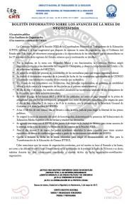 Boletín INFORMATIVO SOBRE LA MESA DE NEGOCIACIÓN- 03 mayo 2017